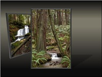 Custom animation effects: picture triptych, slide 4, right picture to front center