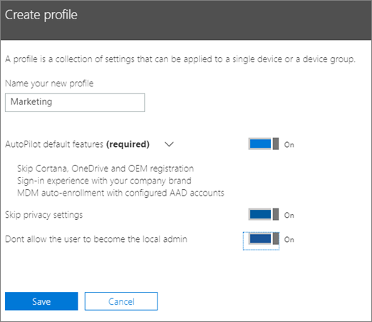 Enter name and turn on settings in the Create profile panel.