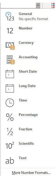 Number format drop-down screen