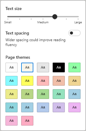 Text preferences menu outlining various options