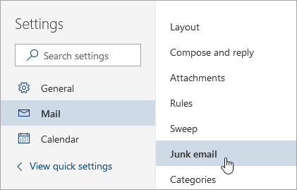 A screenshot of the Settings menu with Junk email selected