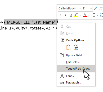 Toggle field codes selected