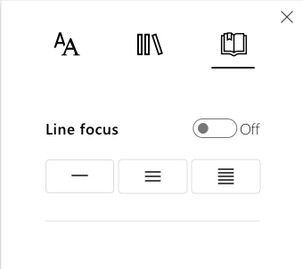 Lines Focus Options Menu in Immersive Reader part of Learning Tools Addin for OneNote.