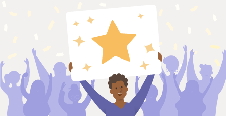 Illustrated person holding up a star