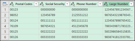 Keeping leading zeros and large numbers - Excel