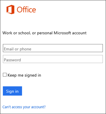 Screenshot of sign in page for installing Office