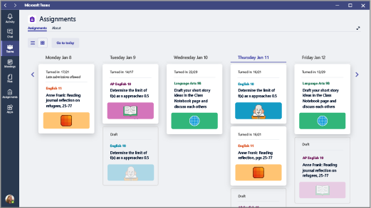 View the assignments you've created across all classes in a week-to-week view, Monday through Friday.