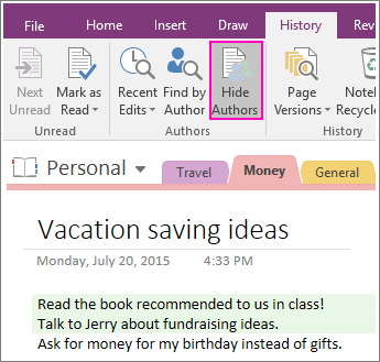 Screenshot of the Hide Authors button in OneNote 2016.