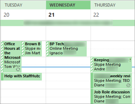 What your calendar looks like to a user when you share it with limited details.