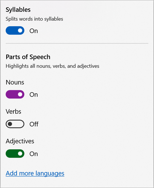 Grammar options menu