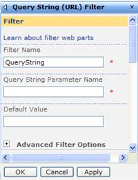 The tool pane for the Query String URL Filter Web Part.