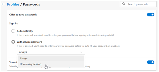 Autofill sign-in requirement settings