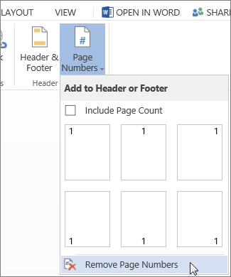 Image of Remove Page Numbers selected in the Page Numbers gallery