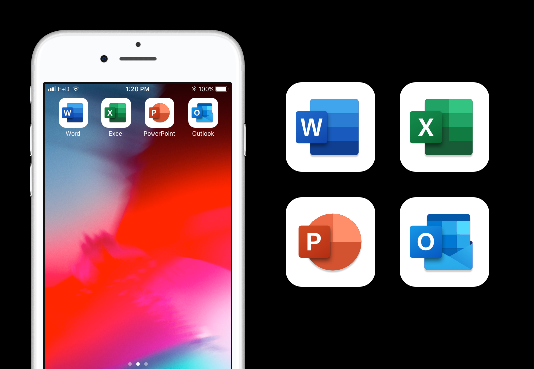 New product icons on a phone screen on the left and a close up view of the icons on the right