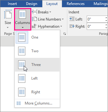The Column options are highlighted on the Layout tab.