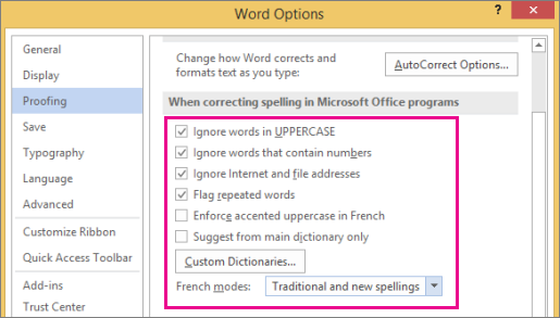 Global Office spelling correction options