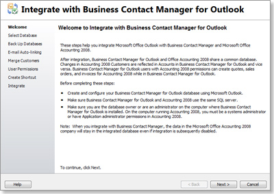 Integrate with Business Contact Manager for Outlook wizard