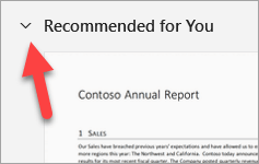 The recommended for you section with an arrow pointing at the expand or collapse button.