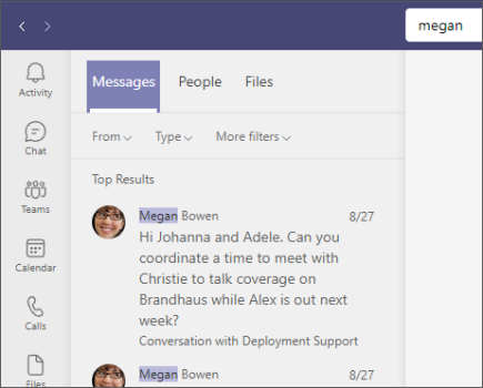 Search for messages