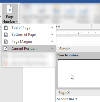 Screen shot that shows choosing Plain format page number at the current position in the document