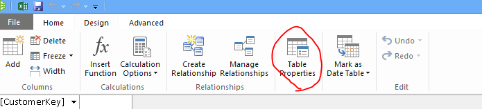 Ribbon in Power Pivot window showing Table Properties command