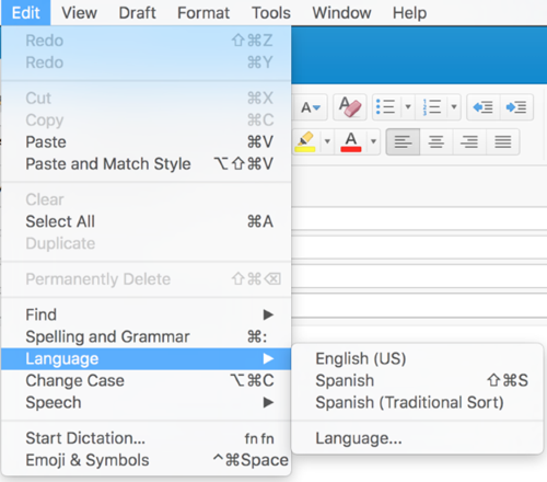 Outlook 2016 for Mac Language settings under Edit menu