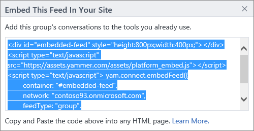 The embed dialog box for a group feed
