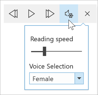 screenshot of the Immersive reader voice options toolbar. The mouse hovers over settings revealing a toggle for reading speed and dropdown for voice selection