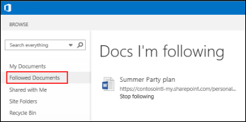 screenshot of the onedrive for business documents youre following in office - Business Documents