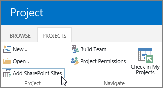 Add SharePoint Sites button on the ribbon in the Project Center