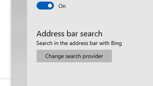 Scroll down to Address bar search, and select Change search provider.