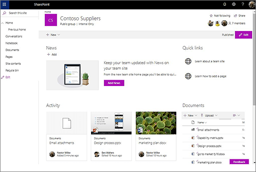 This shows the team site after you've connected a new Office 365 Group and includes links to your old team site.