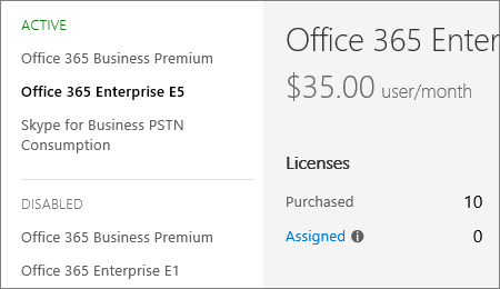 The subscription page showing the number of licenses for the new subscription.