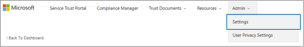 STP Admin menu - Settings selected