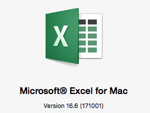 Microsoft Excel for Mac logo showing version 16.6