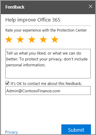 Shows the Protection Center feedback pane.