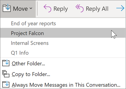 Moving a message to a folder in Outlook