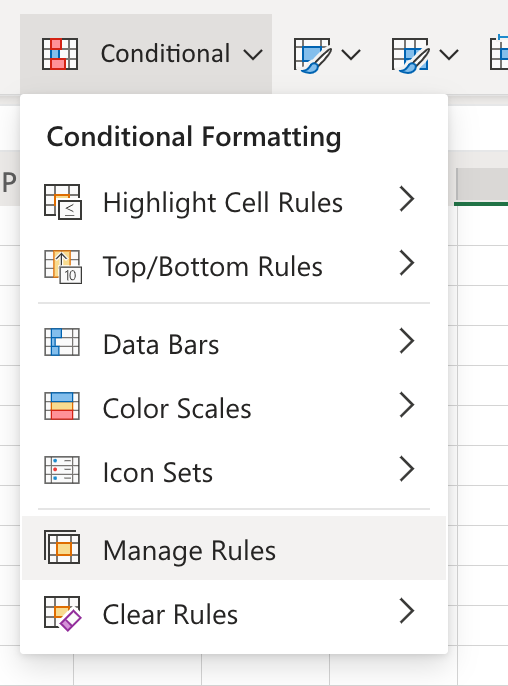 Conditional formatting menu and than click on Manage Rules button