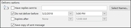 """Under the """"Delivery options,"""" check the """"Do not deliver before"""" box and input the delivery date and time"""