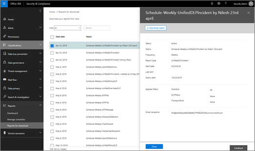 In the Security & Compliance Center, choose Reports > Reports for download