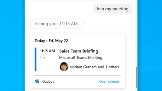 Join a meeting with Cortana in Windows