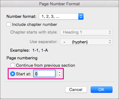 To set a starting page number, select Start at, and then enter a number.