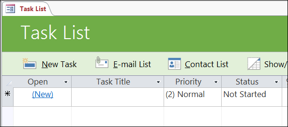 Task list form in the Access Tasks database template