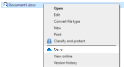 Explorer right-click menu showing OneDrive share command