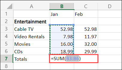 Excel for the Web AutoSum cell