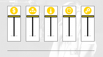 Slider graphics with icons in a PowerPoint graphics sampler template