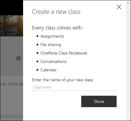 Enter the name of your new class, and click Done