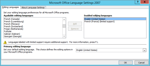 Language settings in Office 2007