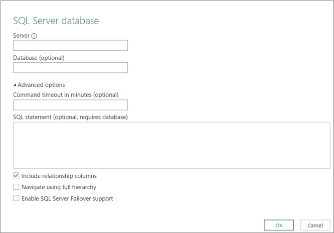 The SQL Server Database dialog box