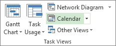 View tab, Task Views group, Calendar button.